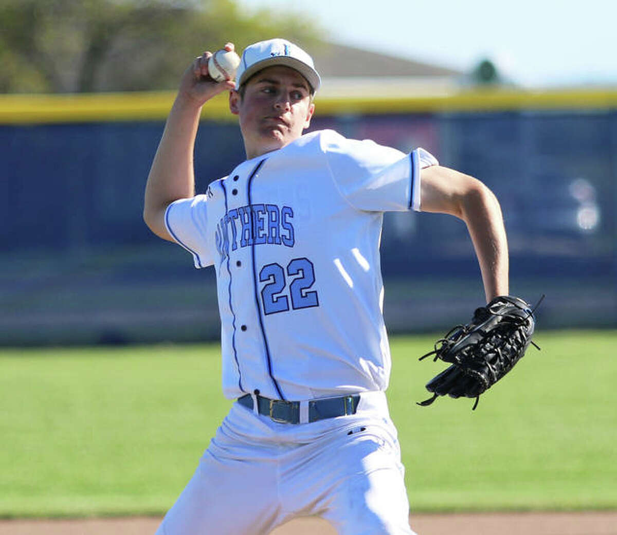Jersey pitcher Sam Lamer works to the plate during his win over CM on Wednesday at Ken Schell Field in Jerseyville.