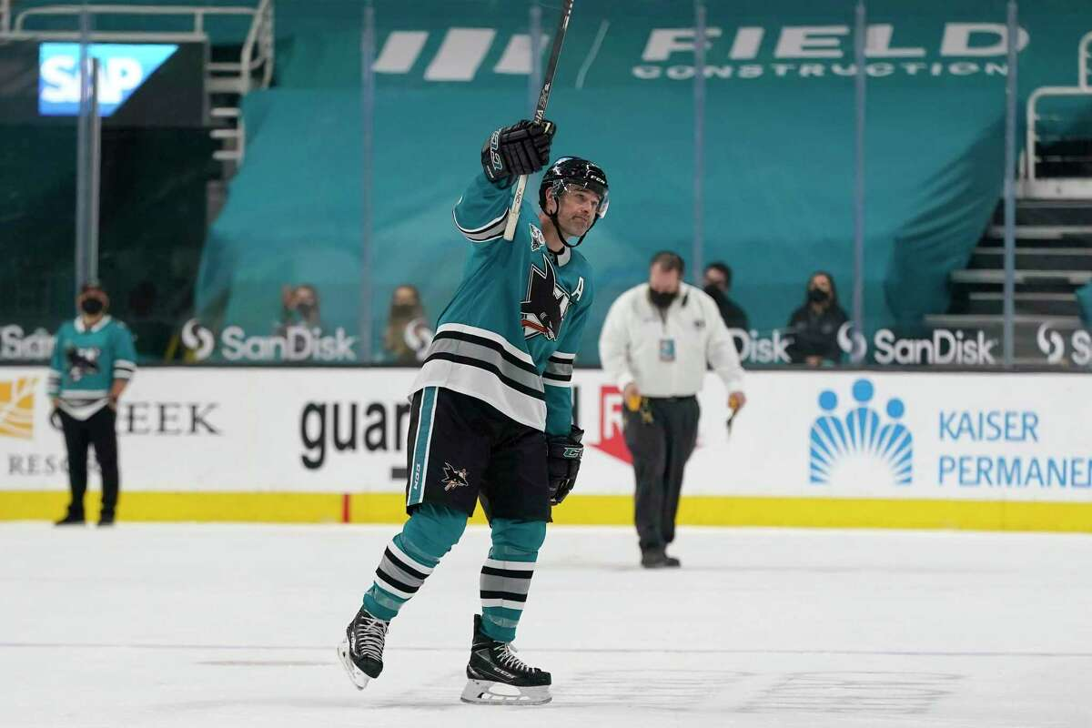 Forward Patrick Marleau waves to the fans at SAP Center after the Sharks closed their season with a loss to the Golden Knights. Marleau, a free-agent-to-be, may not return to the team.