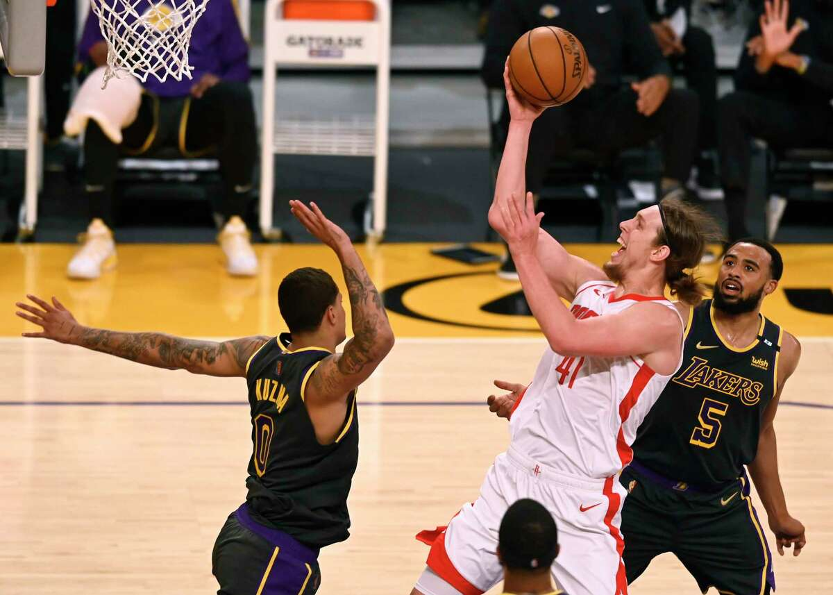 Kelly Olynyk tied for the team high with 24 points Wednesday night but the Rockets fell short of knocking off the defending NBA champion Lakers in Los Angeles.