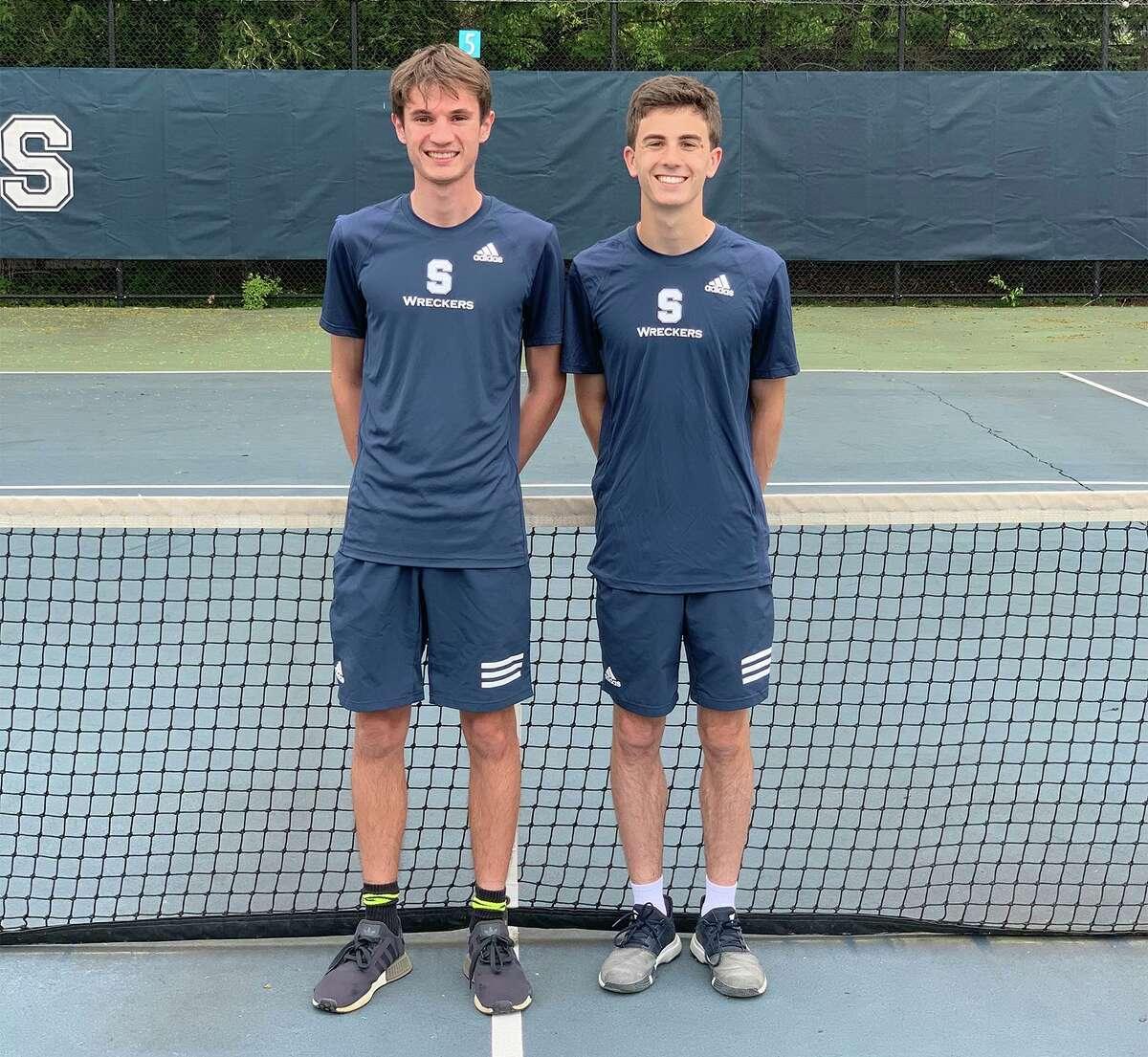 Staples boys tennis senior co-captains Bradley Sheppard and Lucas Haymes.