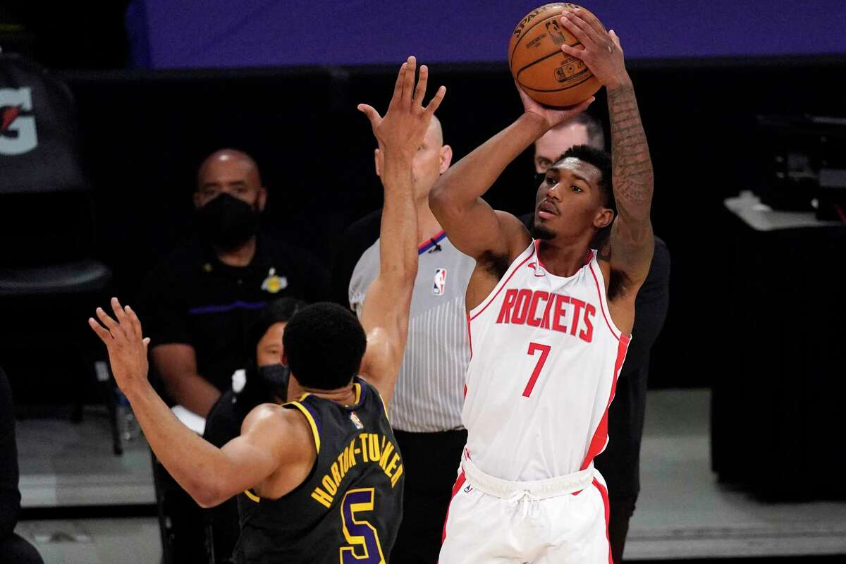 Armoni Brooks scored a career-high 24 points Wednesday night against the Lakers, but it wasn't enough to get the Rockets a win in their third-to-last game of a trying season.