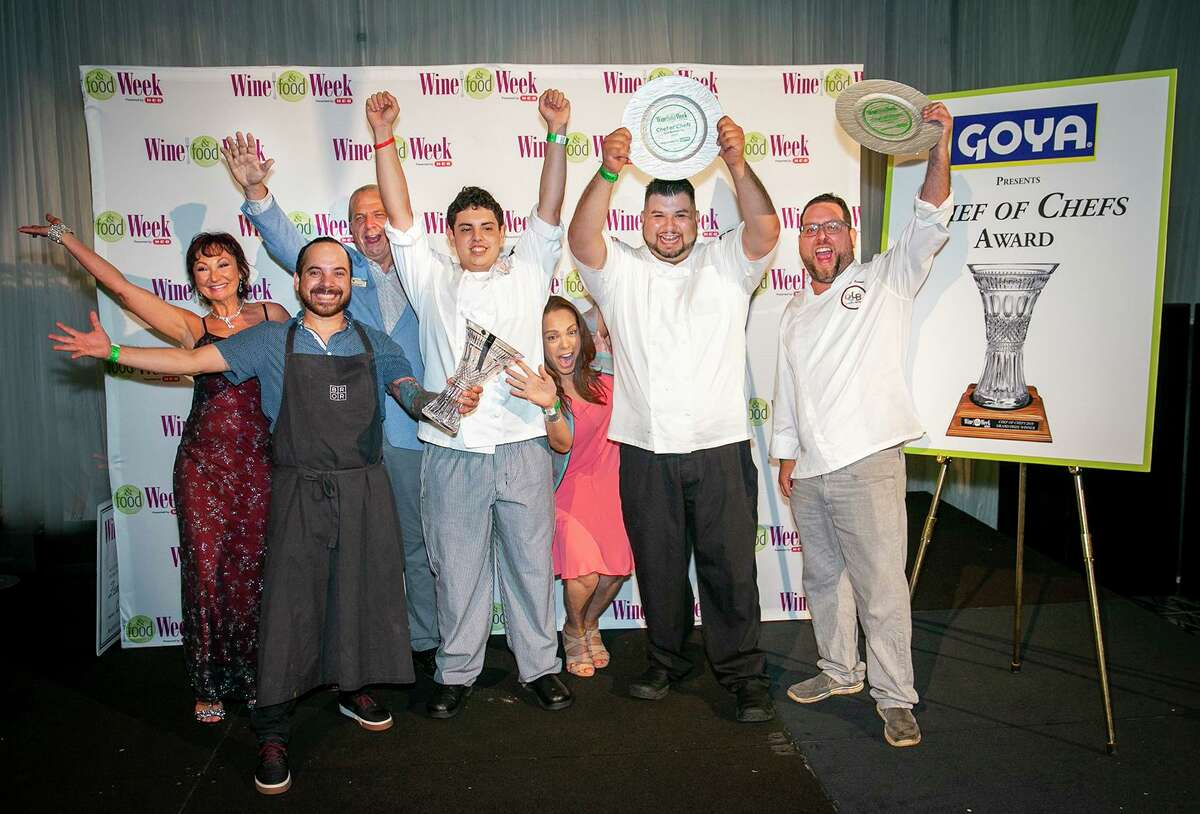 The foodie events in 2021 are facemask-optional due to the venues chosen by organizers, all private at The Carlton Club and The Woodlands Country Club Palmer Course. In this archive image, winners of the chef competition at the 15th annual Wine & Food Week in 2018 are shown in the Woodlands.