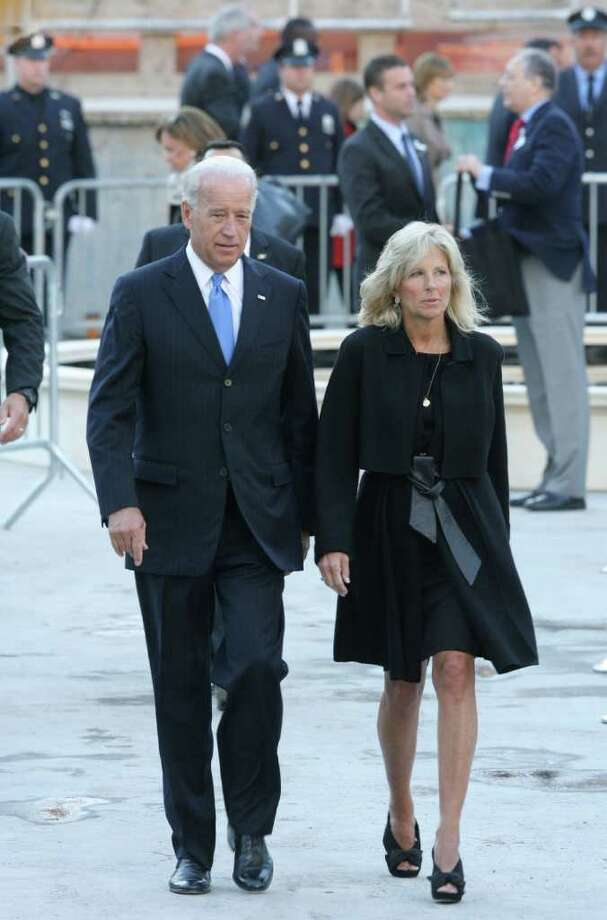 NEW YORK - SEPTEMBER 11:  U.S. Vice President Joe Biden and his wife Jill Biden depart at Ground Zero after the annual memorial service September 11, 2010 in New York City. Thousands will gather to pay a solemn homage on the ninth anniversary of the terrorist attacks that killed nearly 3,000 people on September 11, 2001.   (Photo by Brigitte Stelzer-Pool/Getty Images) *** Local Caption *** Jill Biden;Joe Biden Photo: Pool, Getty Images / 2010 Getty Images
