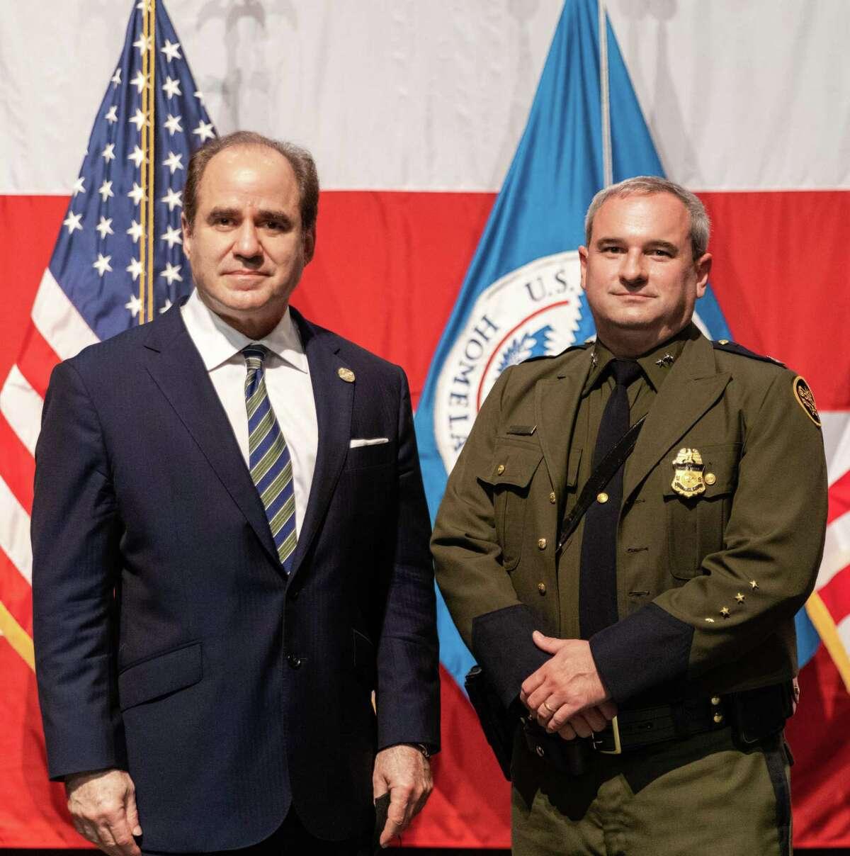 Laredo College President Ricardo Solis and Chief Patrol Agent Matthew Hudak