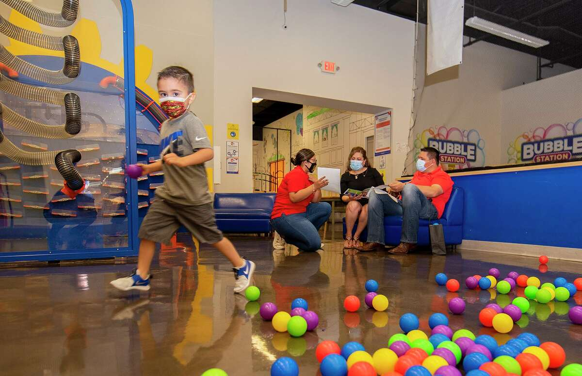 The Santos family was one of the first walk-in visitors to The Imaginarium of South Texas since the beginning of the pandemic, Saturday, May 11, 2021 at Mall del Norte. The Imaginarium was previously accessible via appointments only.