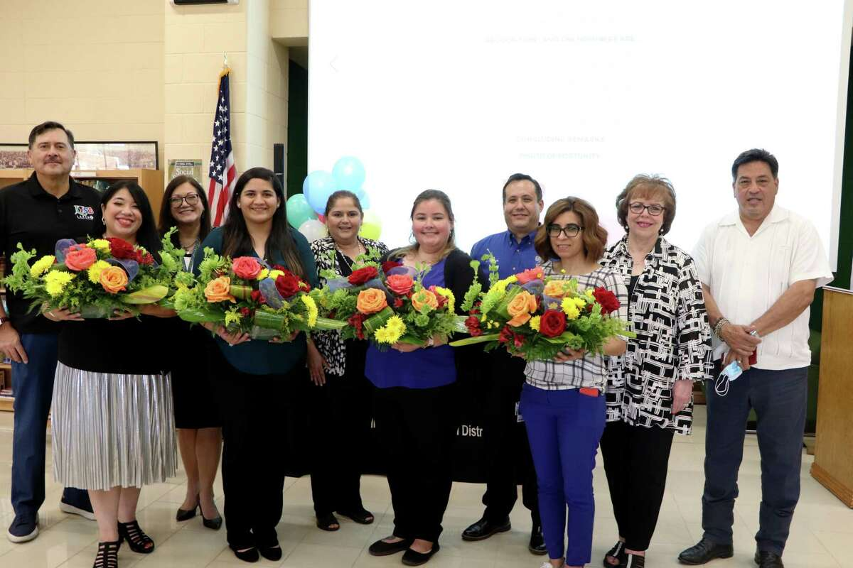 LISD board members, principals and superintendent Sylvia Rios gathered to recognize the teachers and para-professionals of the year on Wednesday, May 12, 2021.
