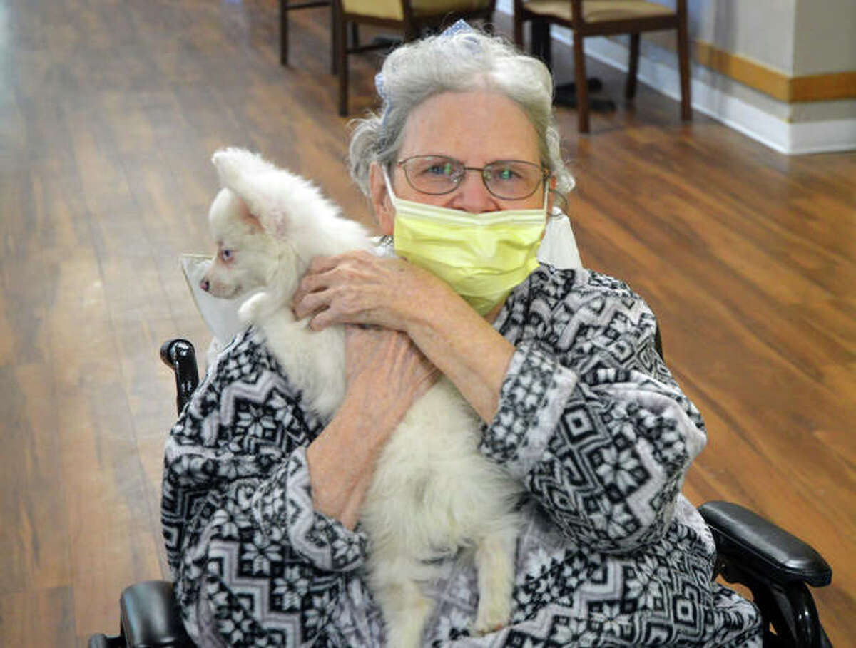 """An Edwardsville Care Center resident holds a puppy, which was part of Wednesday's """"Zoo Day"""" activities to celebrate National Nursing Home Week."""