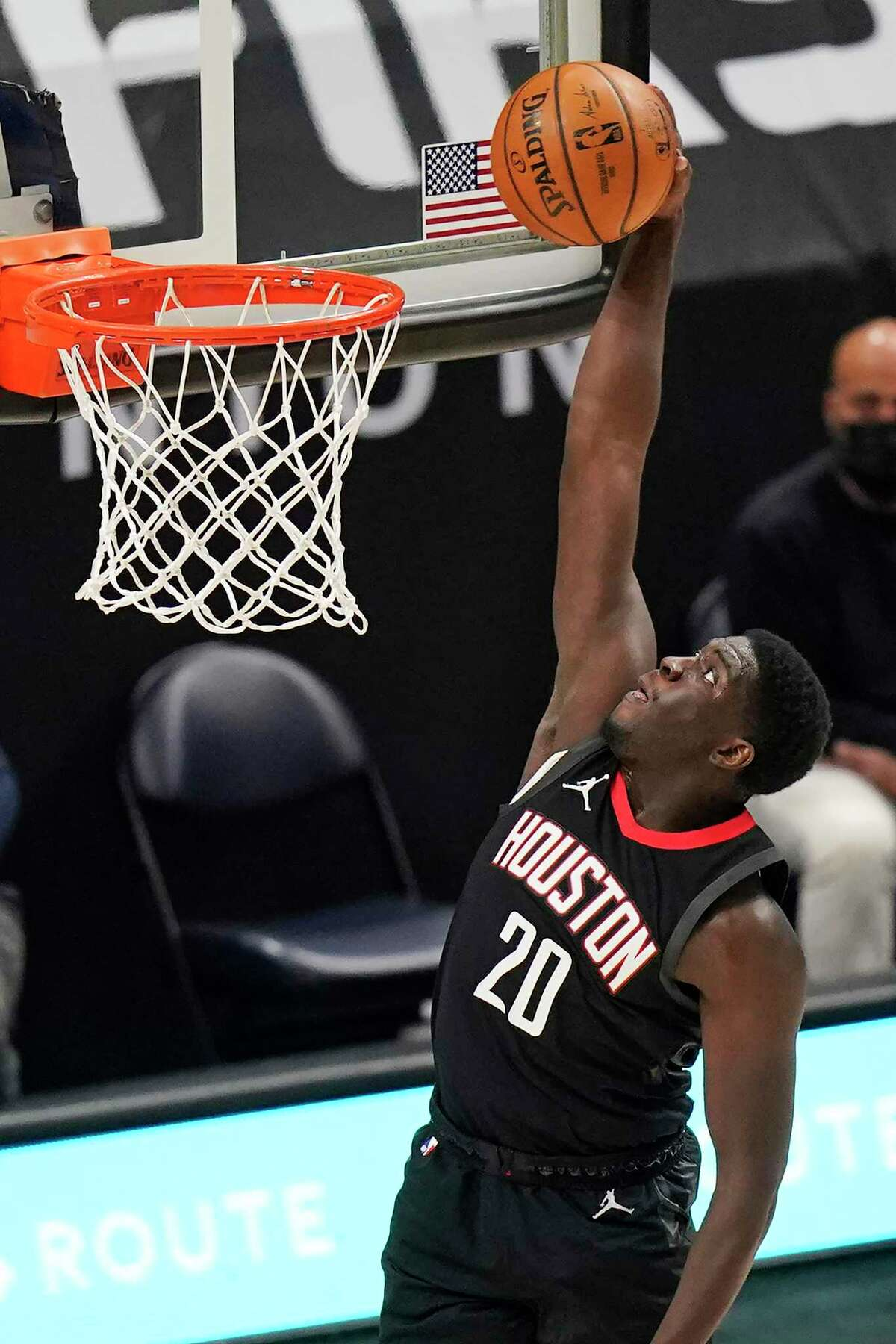 Khyri Thomas has had his moments with the Rockets like this dunk against the Jazz on Saturday.