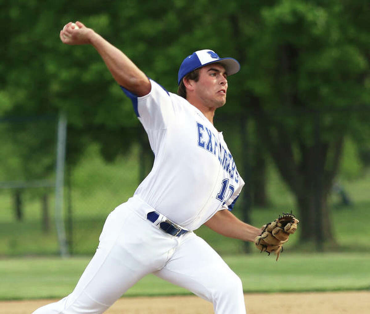 Marquette Catholic's Nolan Rea, shown pitching earlier in the season in Alton, was back on the mound Wednesday and took the loss in a 4-1 defeat to the Miners in Gillespie.