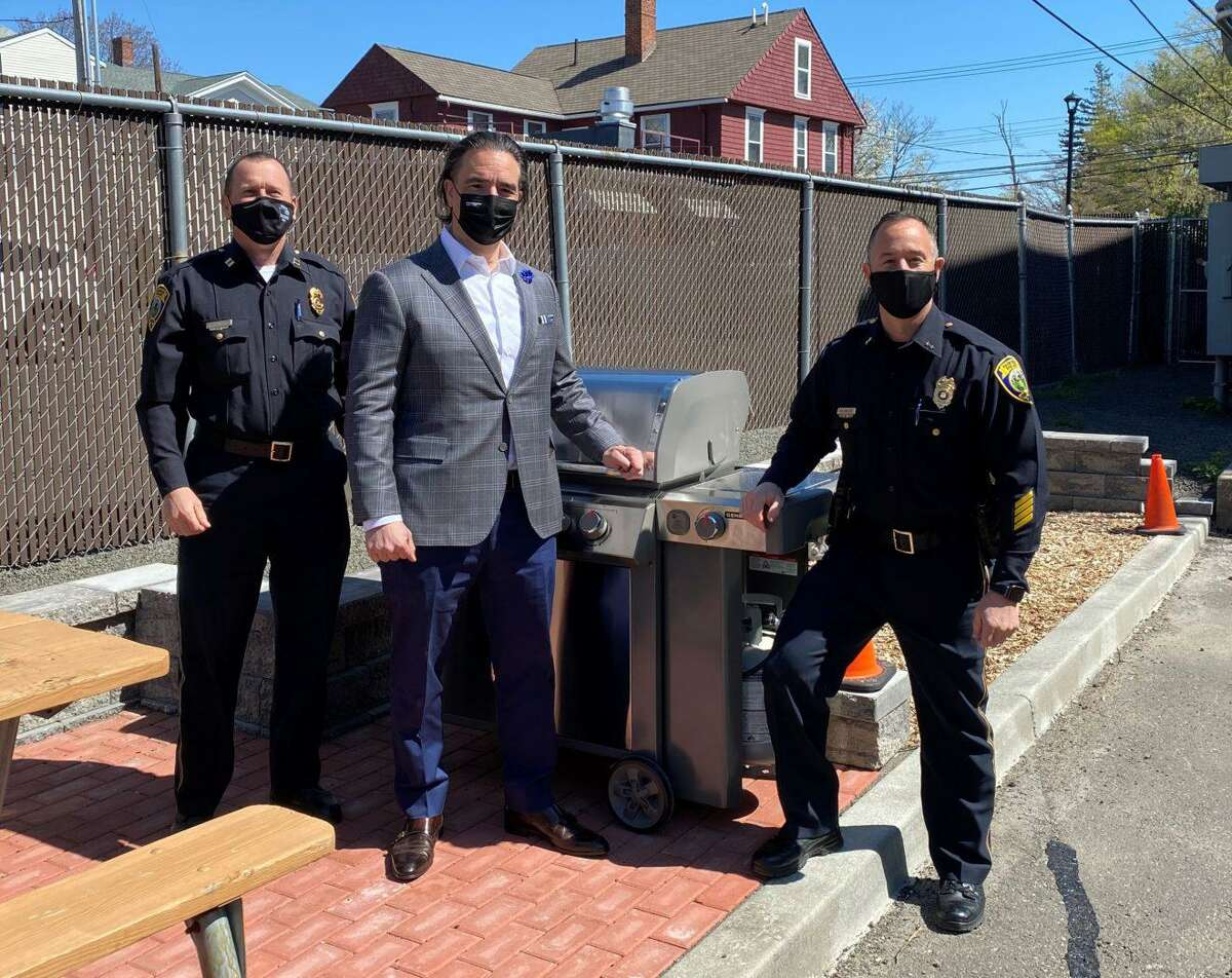 Fairfield Police Department Capt. Keith Broderick, Fairfield resident Daniel Blanco, and Fairfield Chief of Police Robert Kalamaras stand with a grill during National Police Week. The week goes through May 15. The week began May 9. Blanco recently donated the grill to the Fairfield Police Department. The department has been using the grill for the week to provide meals for Fairfield Police personnel of each of the department's shifts, and divisions. The grill is also the latest addition to the department's new outdoor break area for sworn, and civilian personnel.