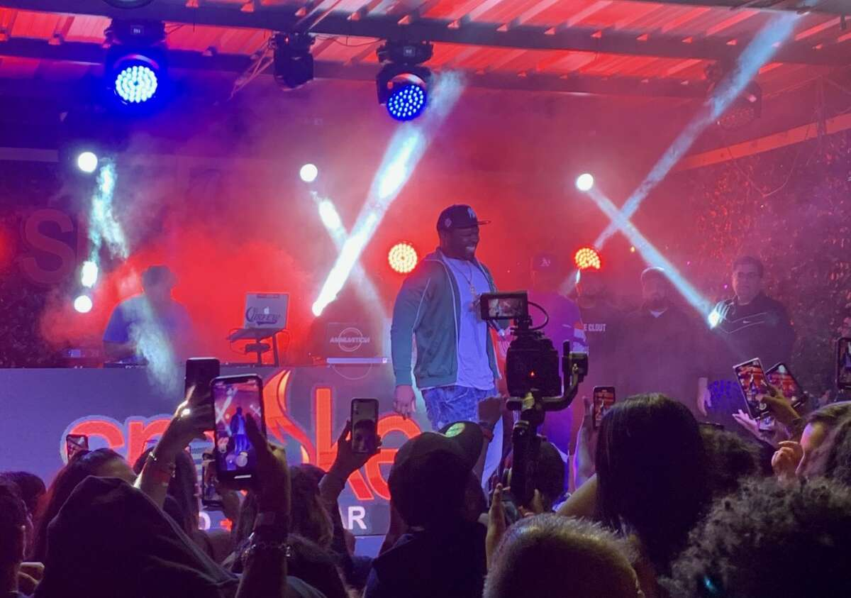 Rapper 50 Cent performed at Smoke Skybar in downtown San Antonio on May 11, 2021.