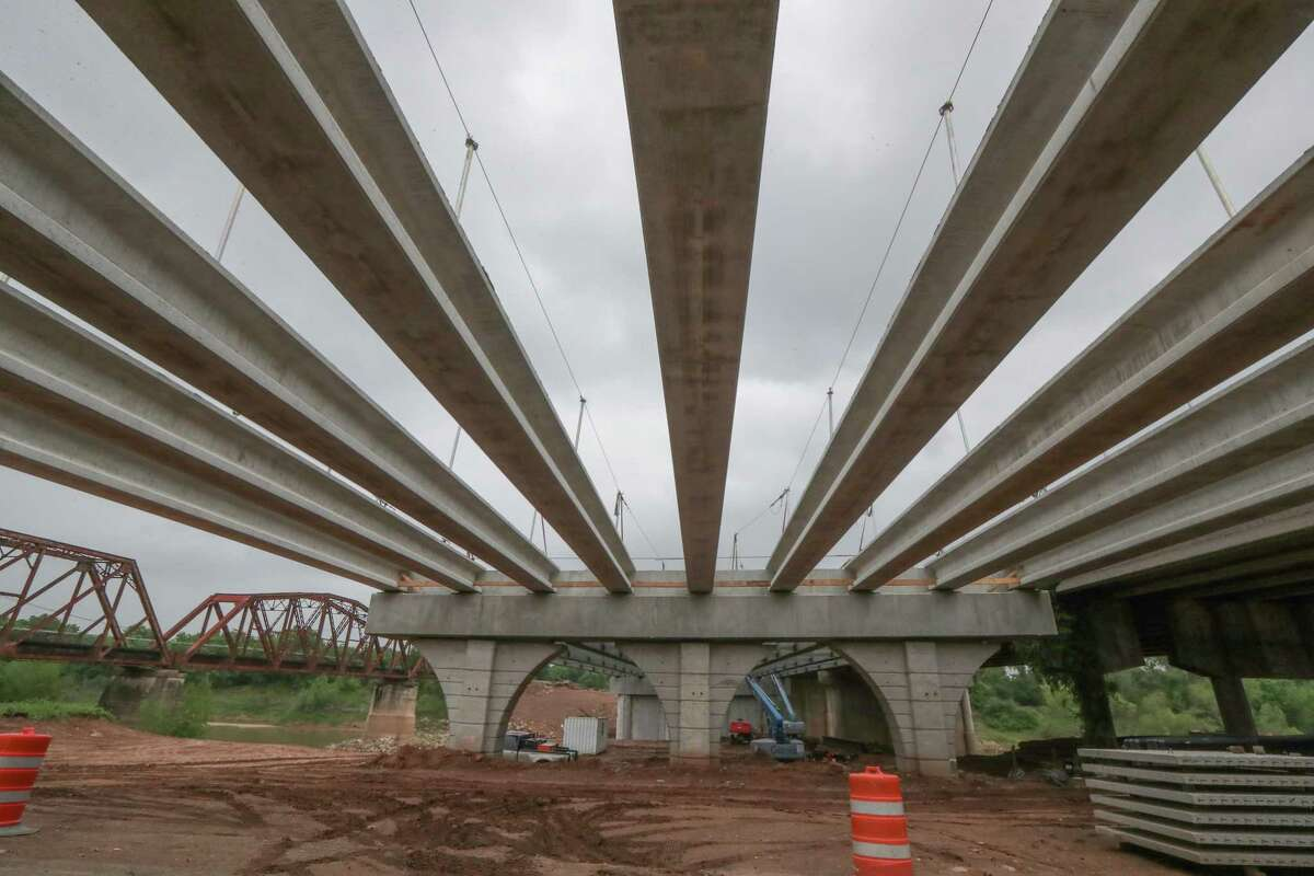 A new bridge on Interstate 10 over the Brazos River is being constructed on April 14, 2021.