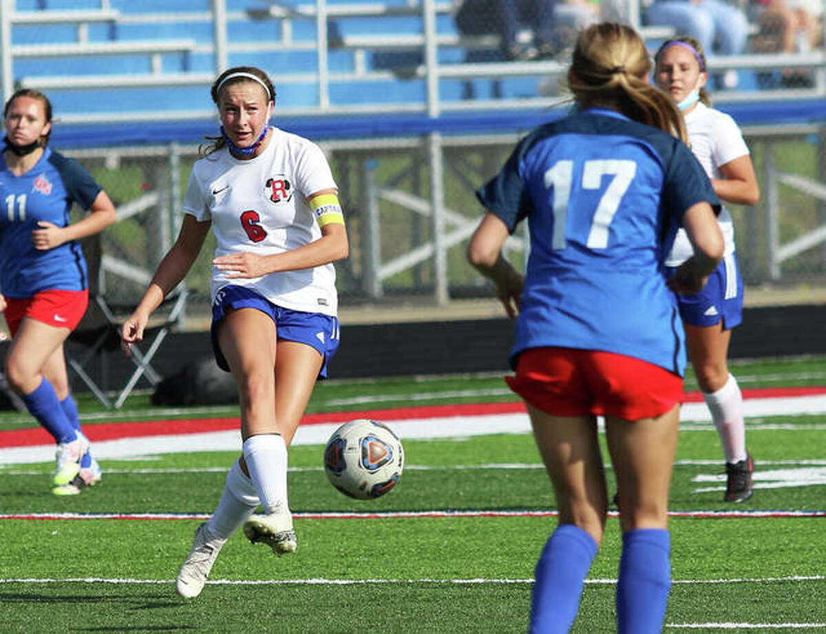Roxana's Macie Lucas (6) delivers a pass to a teammate during a game earlier this season in Carlinville. Lucas had a goal Wednesday in the Shells' 3-3 tie with CM in Bethalto.