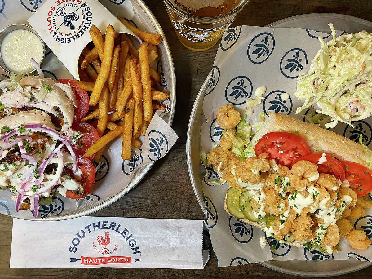Po'boy options at Southerleigh Haute South at The Rim include rotisserie chicken, left and fried shrimp, along with sides like french fries and coleslaw, along with Southerleigh's own beers.