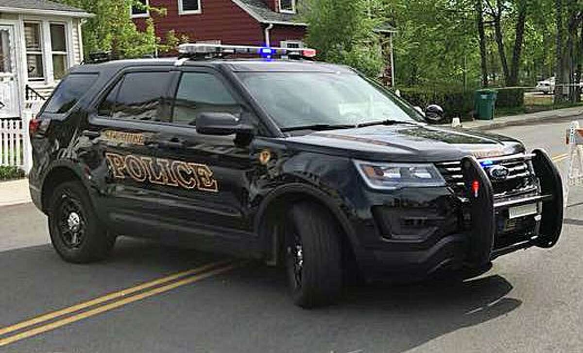 A bus and a motorcycle collided at a Seymour, Conn., intersection on Thursday, May 13, 2021. Police said there were no injuries.