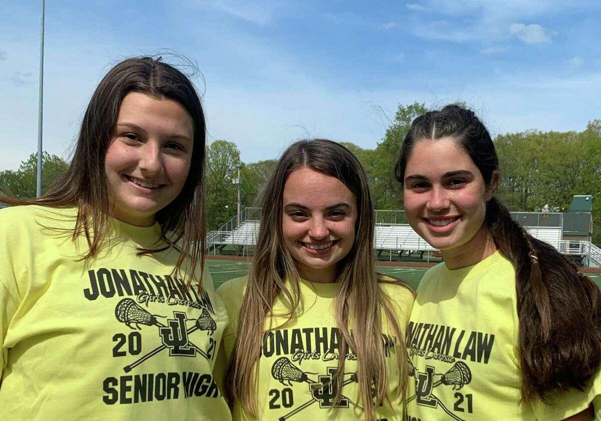 Coach Diana DiGangi's senior captains are Ava Asmussen, Ella Jambor and Jordyn Konlian.