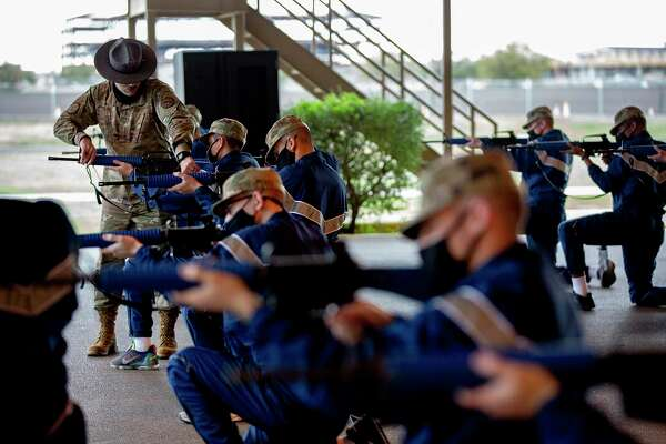 Trainees at Joint Base San Antonio-Lackland learn how to handle the M4 rifle.