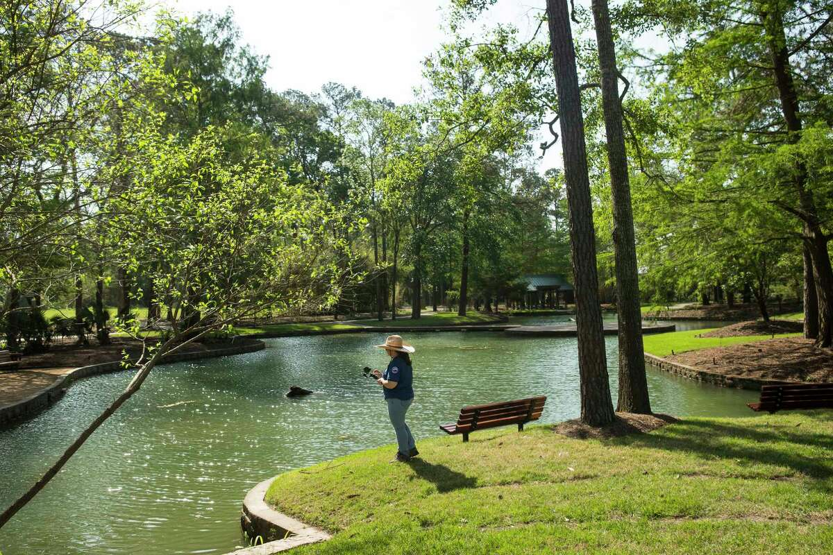 Jennifer Garrison takes photos at Storey Lake at Mercer Botanic Gardens Wednesday, April 28, 2021 in Houston. The gardens, which are now fully opened, flooded in 2016 during tax day floods and just as it was finishing repairs was wiped out with 20 feet of flooding in Hurricane Harvey.