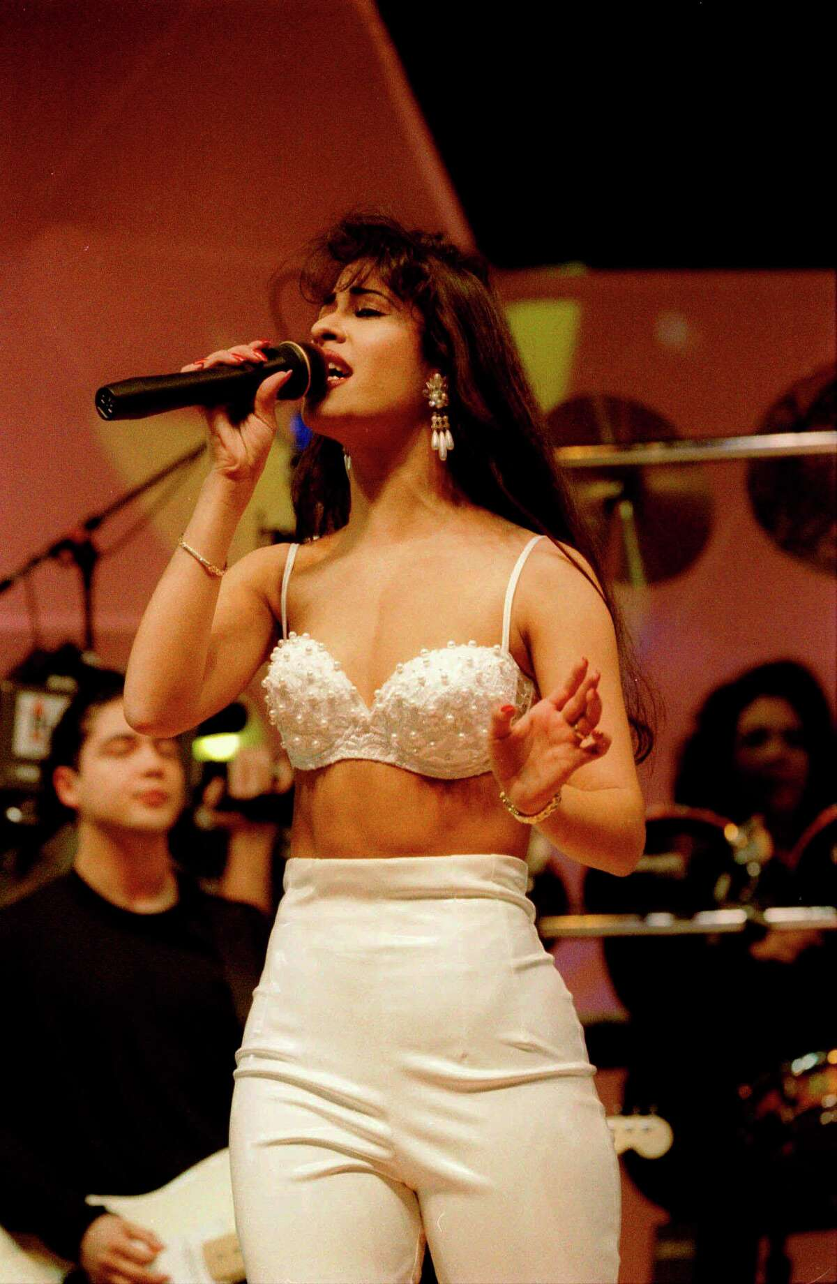 Selena performs at the Houston Livestock Show and Rodeo in 1994. Photo courtesy the Houston Chronicle.