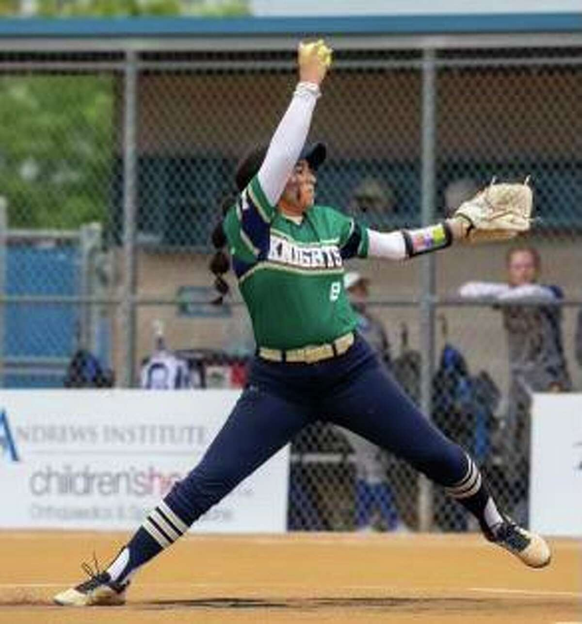 Gia Reynosa allowed one hit for Holy Cross, which defeated Baytown Christian 10-0 to win the TAPPS Division III state championship on May 13, 2021.