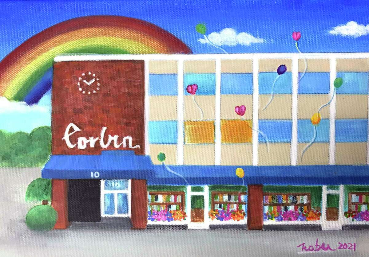 A painting by Darien artist Nobu Miki of the Corbin Building, the longtime home of The Darien Times from its beginnings.