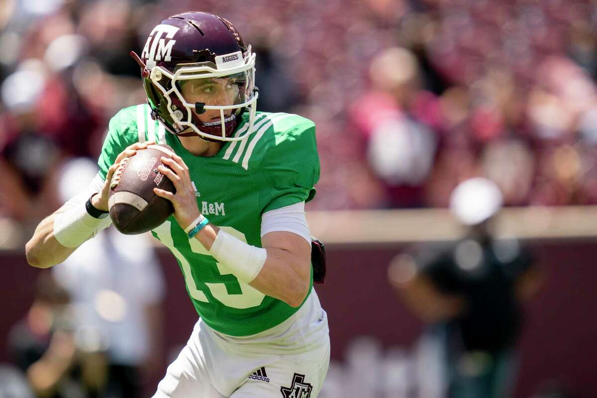 Texas A&M quarterback Haynes King (13) looks to pass down field during the Texas A&M Maroon and White Spring game in College Station, Texas on Saturday, April 24, 2021.