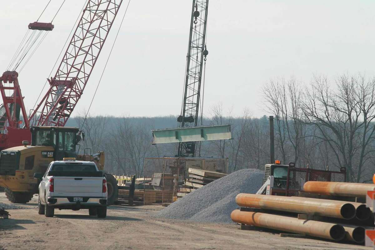 Construction on the M-55 bridge in Manistee Township began in December and is expected to continue through November. A detour routes traffic around Manistee Lake through Stronach Township. The Michigan Department of Transportation will install a temporary three-way stop at the intersection of U.S. 31 and Stronach Road on Tuesday in response to an increase in traffic volume. (File photo)