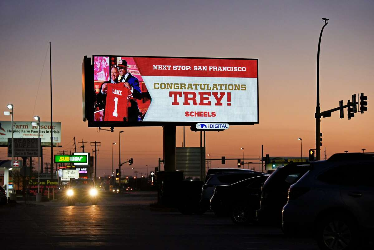 A digital billboard on Thursday, May 6, 2021 in Fargo, North Dakota congratulates North Dakota State University quarterback, Trey Lance. The San Francisco 49ers drafted Lance in the first round of the NFL draft.