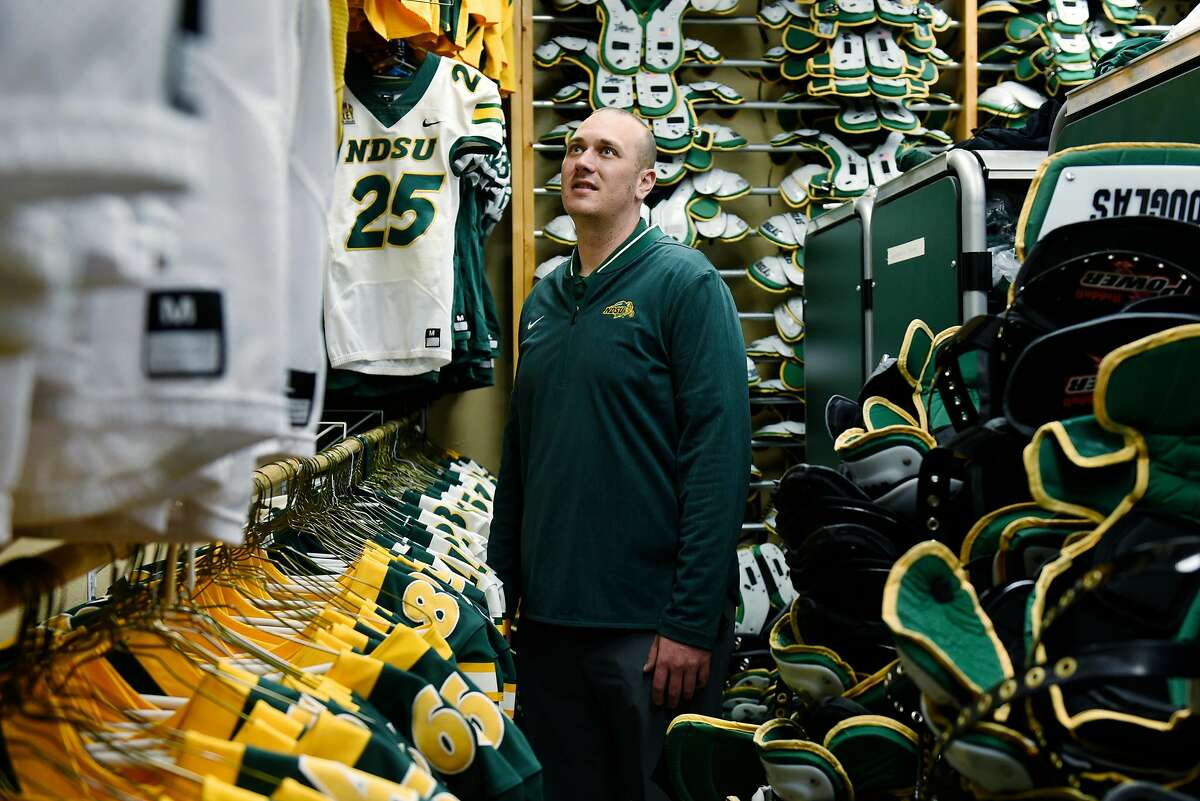 NDSU?•s Director of Football Operations and Equipment, Nathan Bjoralt, in the team?•s equipment room on Thursday, May 6, 2021 in Fargo, North Dakota. On April 29, 2021, the San Francisco 49ers drafted North Dakota State University?•s quarterback Trey Lance in the first round.