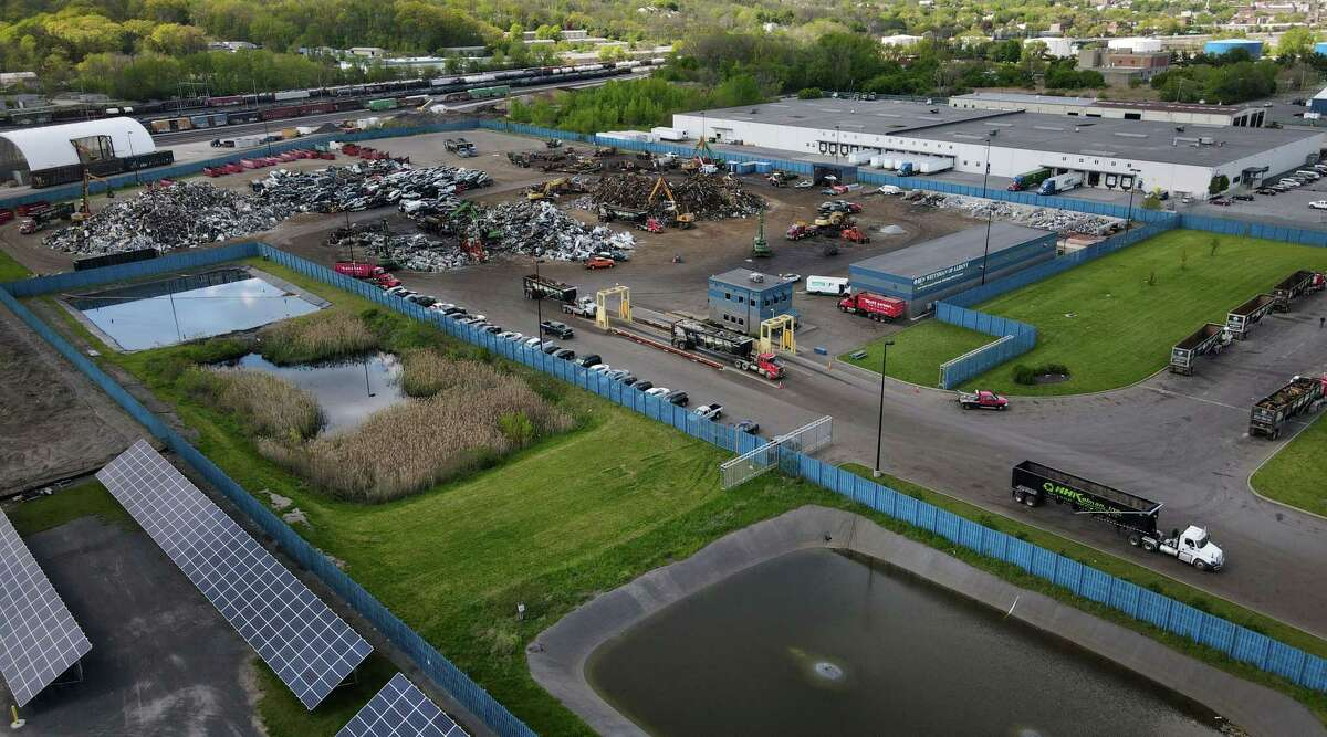 View of the Ben Weitsman of Albany metal recycling yard showing their water detention ponds on Thursday, May 13, 2021, at the Port of Albany in Albany, N.Y. (Will Waldron/Times Union)