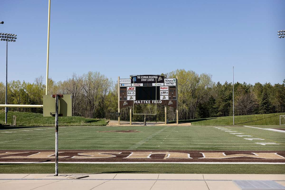 The Marshall High School football team uses the Mattke Field on the campus of Southwest Minnesota State University in Marshall, Minn., on Tuesday, May 11, 2021.