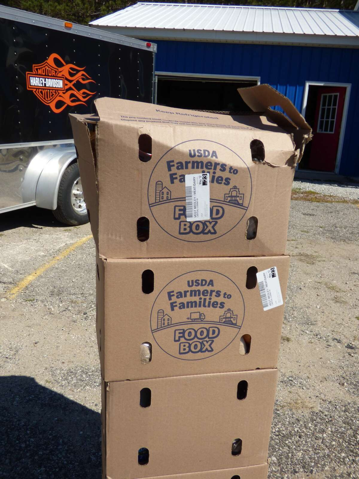Boxes of fresh food through the USDA Farmers to Families program were distributed Thursday at Kaleva VFW #6333.