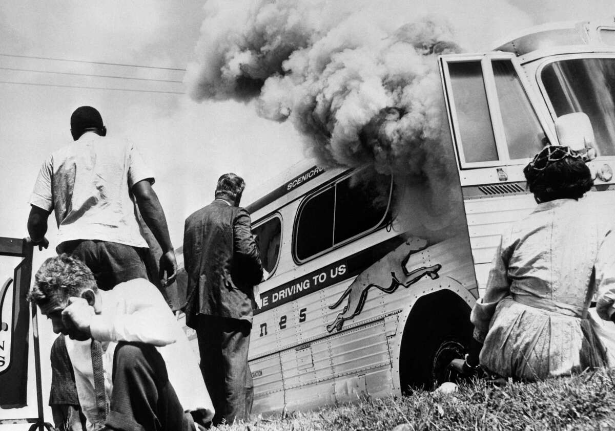 This iconic image shocked the world in 1961. Today still calls for the moral bravery of the Freedom Riders.