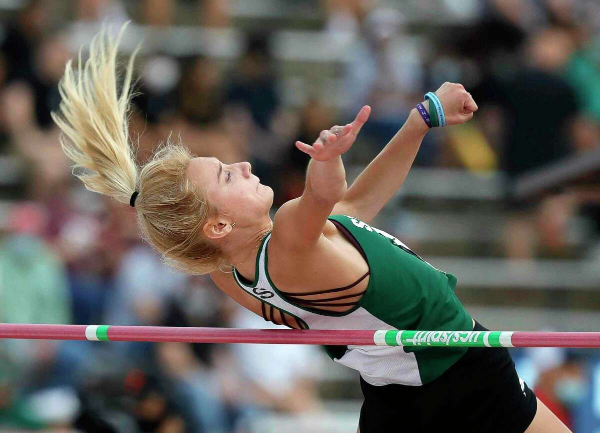 Evelyn Lavielle of Houston Statford competes in the girls high jump during the Class 6A UIL Track and Field Championships at Mike A. Myers Stadium, Saturday, May 8, 2021, in Austin.