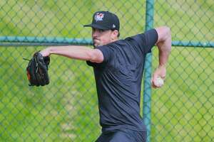 Andrew Bellatti throws a pitch during spring training for the Tri-City ValleyCats on Thursday, May 13, 2021, at the Joseph L. Bruno Stadium in Troy, N.Y.   (Paul Buckowski/Times Union)