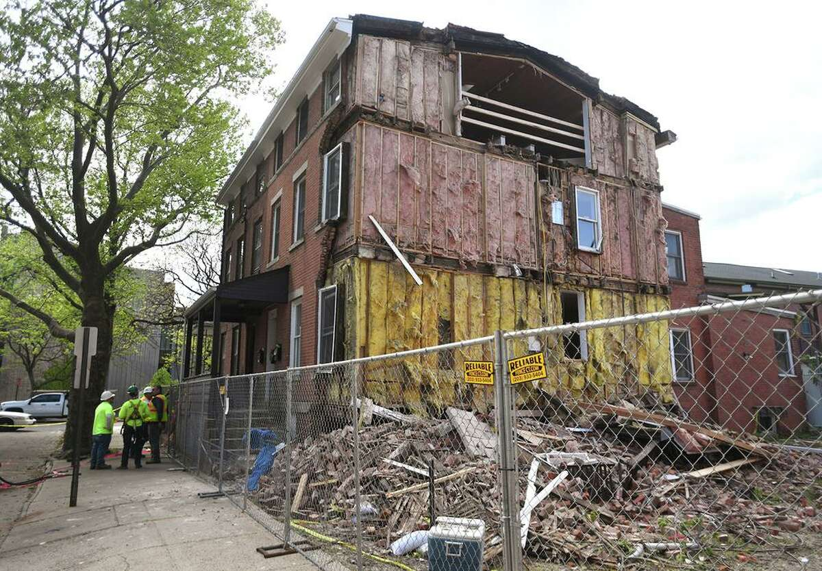 A partial house collapse at 335 St. John St. in New Haven May 13, 2021.