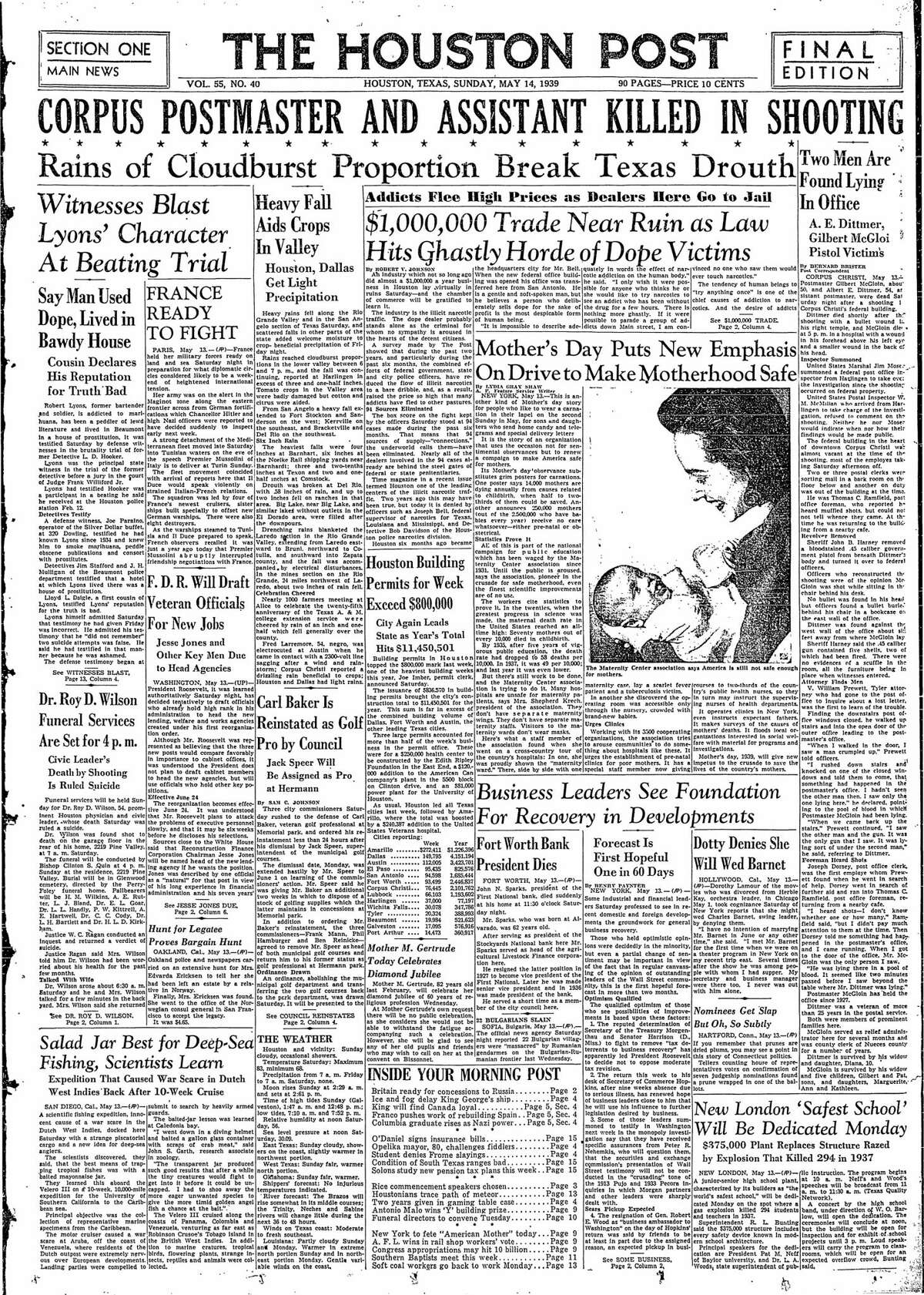 Houston Post front page for May 14, 1939.