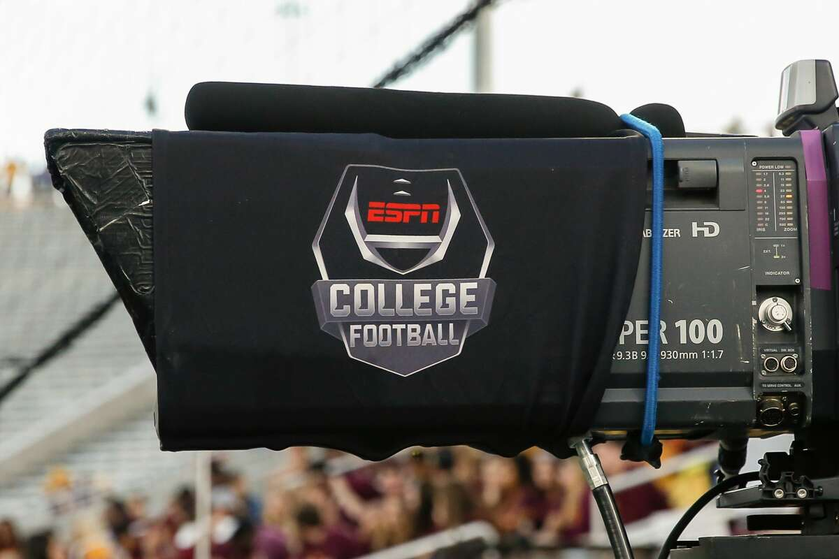 TEMPE, AZ - NOVEMBER 23: The ESPN college football logo on a TV camera during the college football game between the Oregon Ducks and the Arizona State Sun Devils on November 23, 2019 at Sun Devil Stadium in Tempe, Arizona. (Photo by Kevin Abele/Icon Sportswire via Getty Images)