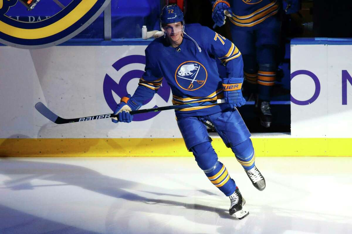 Buffalo Sabres forward Tage Thompson (72) skates prior to the first period of an NHL hockey game against the New York Islanders, Monday, May 3, 2021, in Buffalo, N.Y. (AP Photo/Jeffrey T. Barnes)