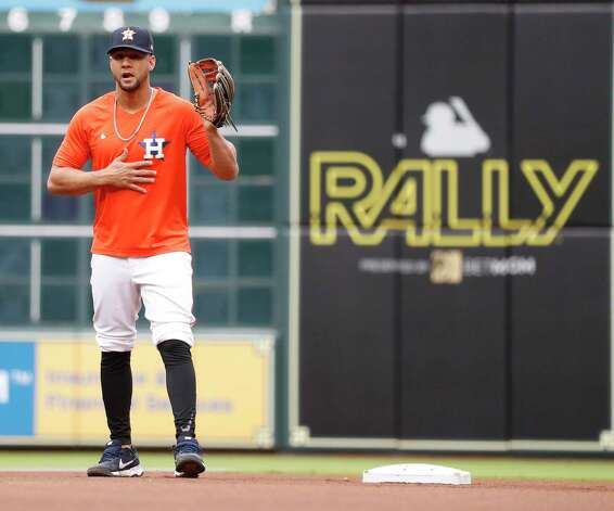 Houston Astros Yuli Gurriel takes infield practice at second base before the start of an MLB baseball game at Minute Maid Park, Thursday, May 13, 2021, in Houston. Photo: Karen Warren, Staff Photographer / @2021 Houston Chronicle