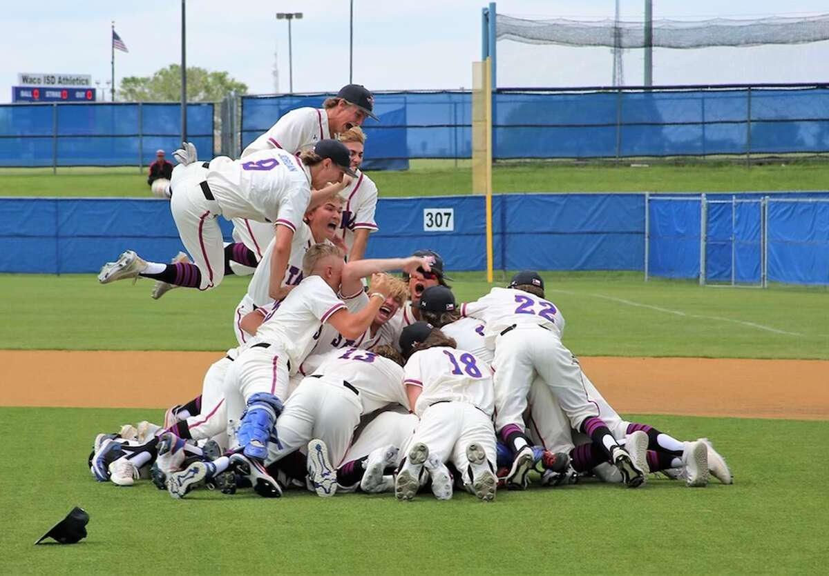 Midland Christian baseball players form a dog pile to celebrate beating Tomball Concordia Lutheran, 1-0, in Thursday's TAPPS Division I state championship game in Waco.
