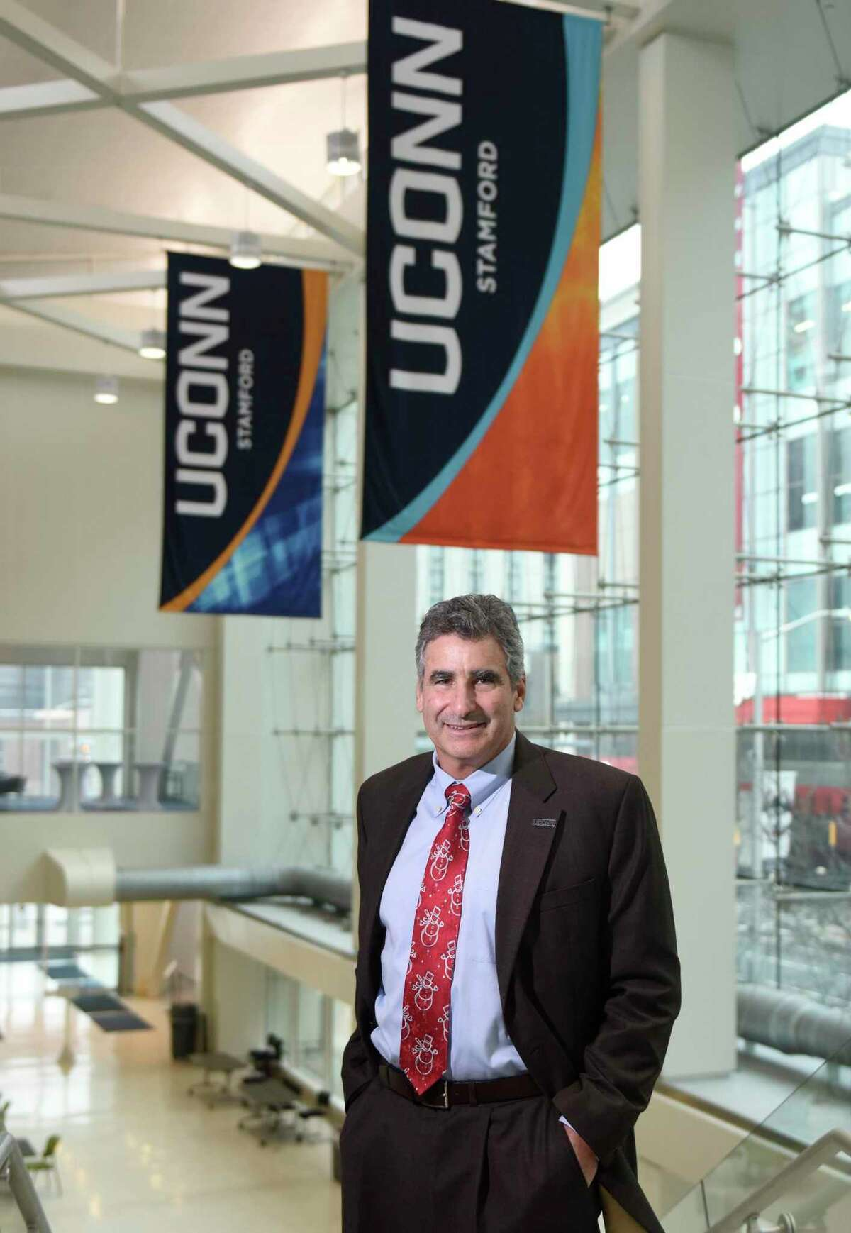 University of Connecticut President Thomas C. Katsouleas poses at the UConn Stamford branch in Stamford, Conn. Monday, Dec. 16, 2019. Katsouleas began his role as the 16th President of the University in August of 2019. Prior to coming to UConn, he was the executive vice president and provost at University of Virginia. Katsouleas has a Ph.D. in Physics from UCLA and is a leading scholar in the field of plasma science having authored or co-authored more than 250 publications.