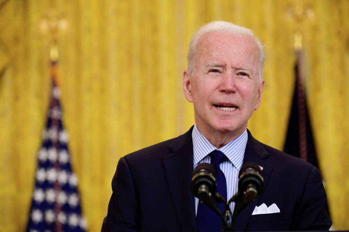 President Joe Biden speaks about the April jobs report, at the White House in Washington on May 7, 2021. (Erin Scott/The New York Times)