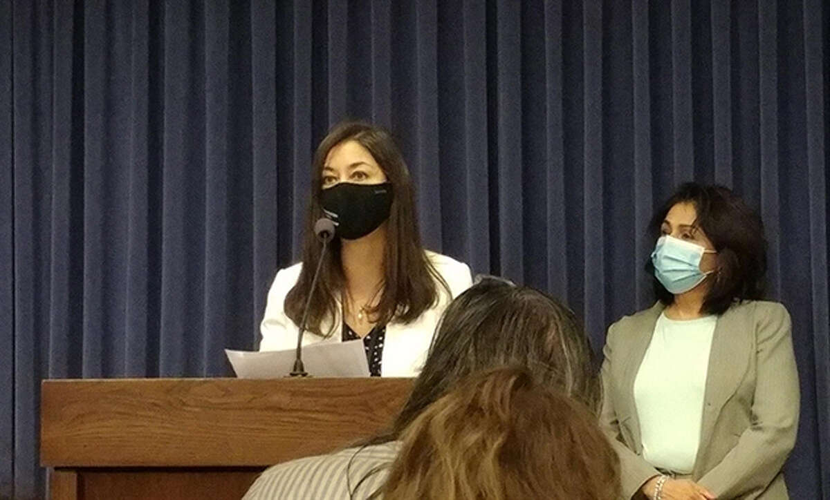 State Rep. Denyse Stoneback speaks at a news conference Thursday at the Capitol. She advanced a bill expanding the state's Firearm Restraining Order Act.