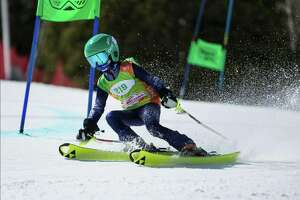 Alec Johnson, of Manistee, on his gold medal run at theNastarAlpine Ski Nationals in Snowmass, Colo. (Courtesy photo)