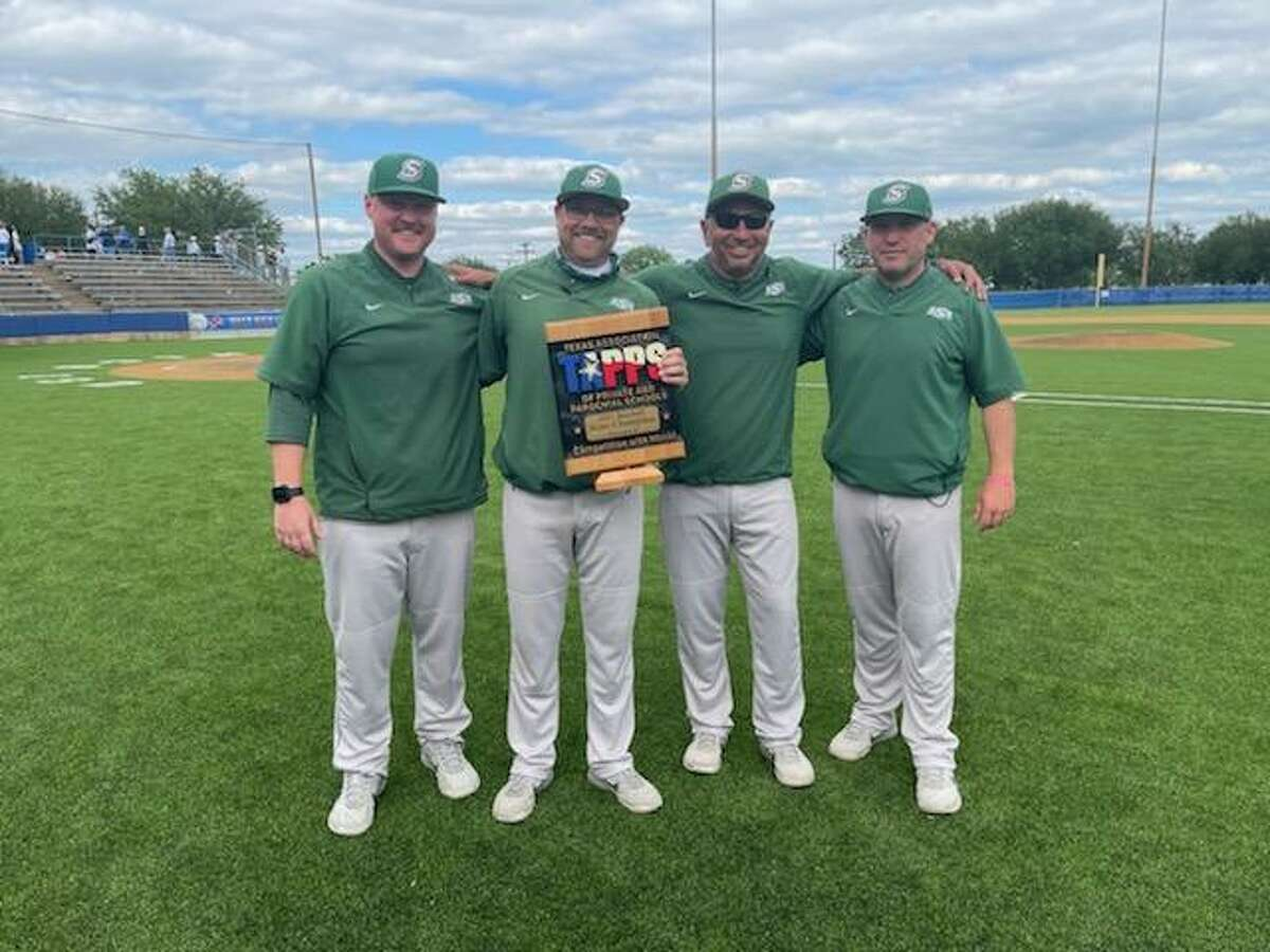 Lutheran South Academy baseball coaches (from left) Caleb Taylor, Aaron Schneider (head coach), Tom DelaGarza and A.J. Bettcher pose with the TAPPS state baseball championship plaque.