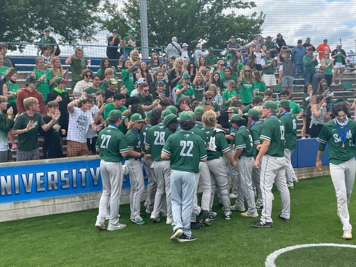 Lutheran South Academy baseball players thank their fans after winning a state title Thursday in Waco.