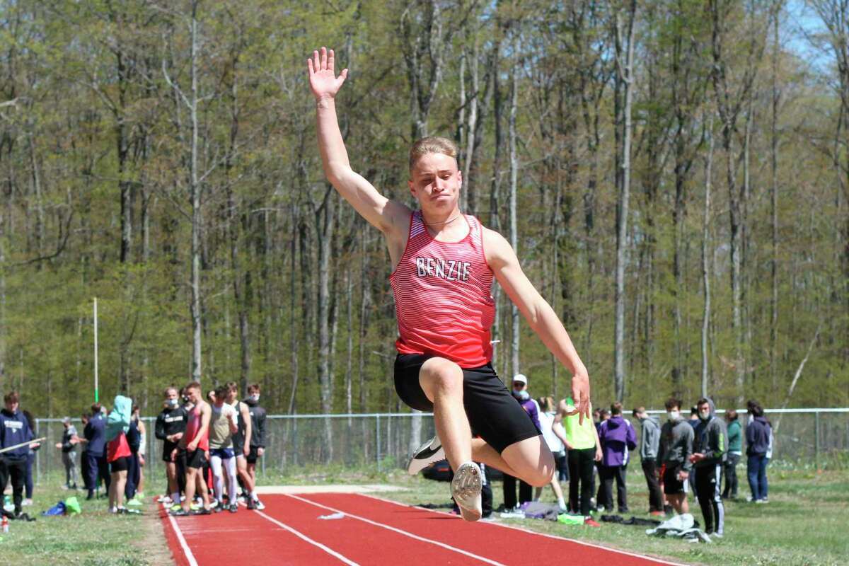 Devon Harris competes in the long jump on May 12. (Robert Myers/Record Patriot)