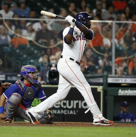 Houston Astros Yordan Alvarez (44) hits a double during the fifth inning of an MLB baseball game at Minute Maid Park, Thursday, May 13, 2021, in Houston. Photo: Karen Warren/Staff Photographer / @2021 Houston Chronicle