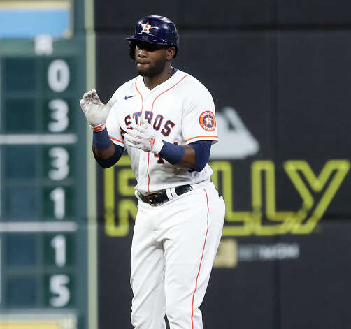 Houston Astros Yordan Alvarez (44) on second base after hitting a double during the fifth inning of an MLB baseball game at Minute Maid Park, Thursday, May 13, 2021, in Houston. Photo: Karen Warren/Staff Photographer / @2021 Houston Chronicle